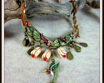Hummingbird Bib Necklace, Clay Leaves, Berries, Resin Flowers, Greens and Creams, OOAK, Mixed Media