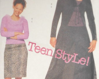 Butterick Juniors Unlined Duster Top Skirt And Pants Teens Lifestyle Year 2000 UNCUT Sizes 9 -14 Pattern Number 6840