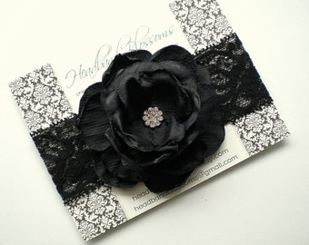 Black Rhinestone Flower Lace Headband or Hair Clip - Newborn Baby Girl Adult - Wedding Flower Girl Easter - Photo Prop