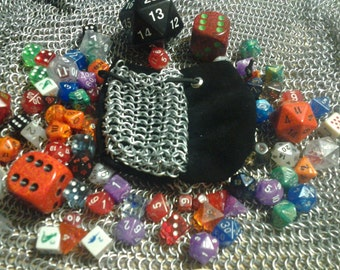 Black and Silver Leather and Chainmail Dice Bag