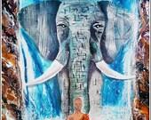 Indian Elephants of Jaipur, Gilded elephant, art, meditating,india,henna,jewels,waterfall,monk,buddha art,ganesha,ganesh,buddhist, zen decor