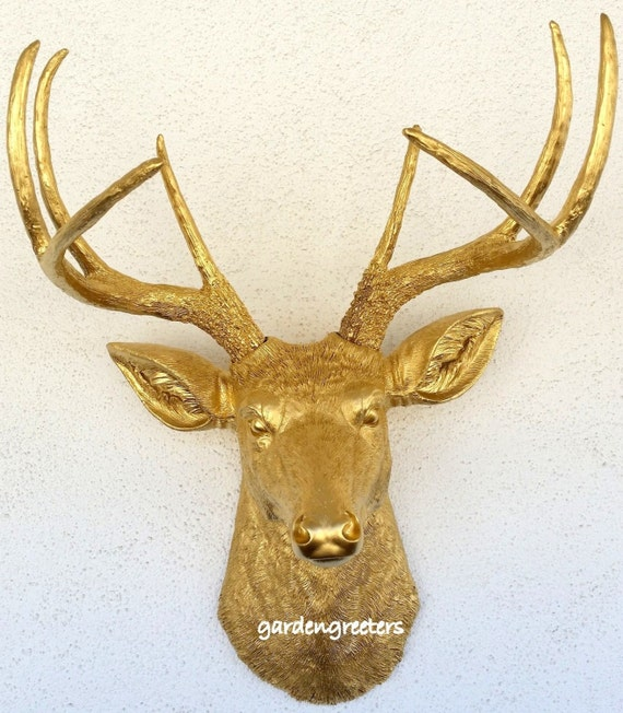 Perfect Gold Deer Head Wall Decor Festooning - Wall Art Design ...