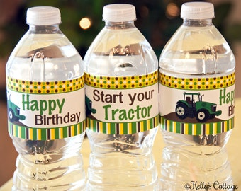 Tractor Birthday Party Water Bottle Wraps, Instant Download, Printable, Digital