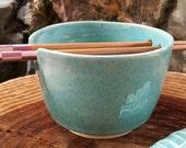 Ceramic Rice Bowl in Mottled Celadon Green