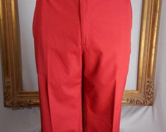 Vintage Corbin Red Poplin Trousers - Size 40