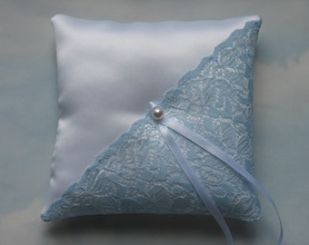 White and blue ring bearer pillow. Ring cushion.