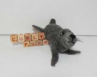 Needle felted seal, gray sea lion, circus seal, seal with ball, hand made by Curly Furr wool felt seal figure, grey California sea lion