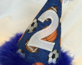 Sports Birthday hat, Royal Blue, Any Number