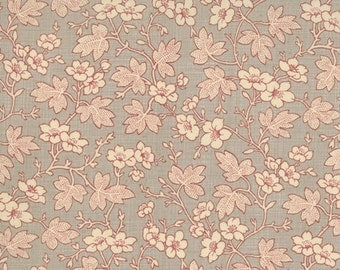 FRENCH GENERAL FAVORITES Moda by the half yard cotton quilt fabric flowers leaves on roche grey gray 13525-14