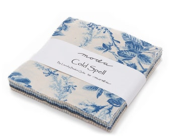 """Moda Charm pack COLD SPELL PRINTS from Laundry Basket Quilts 42 5"""" squares cotton fabric floral blue cream"""