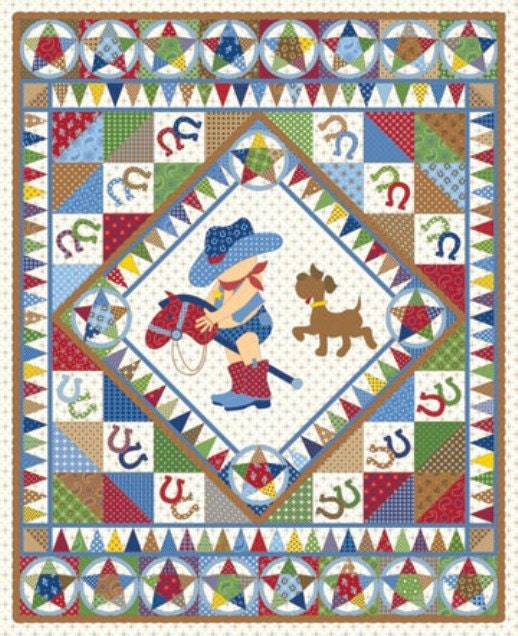 Giddy up northcott boy fabric panel cotton quilt fabric cowboy for Quilt material for boys