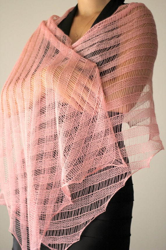 Knitted shawl wrap in soft pink, wedding shawl, bridal shawl, lace stole merino / silk gift for her, bridesmaids shawl