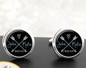 Personalized Double Arrows Wedding Cufflinks With Initials Date Background Handmade Cuff Links - Grooms Fiance Wedding Men Anniversaries