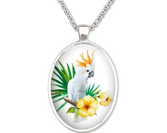 Tropical White Parrot and Hibiscus Flowers Plain Oval Pendant Necklace Pendant Art Pendant Photo Graphic Pendant