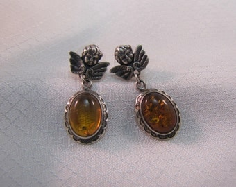 c1950' Sterling Angels and Amber Earrings