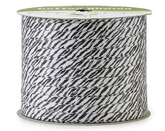 "50yds x 3/16"" Black & White ZEBRA Cotton Curling Ribbon Natural Eco-Friendly (Free Shipping!)"