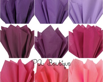"""20ct. Tissue Paper for Gift Wrapping 20""""x26"""" Solid Sheets (You Choose The Color!) Lavender Purple Burgundy Pink FREE SHIPPING!"""