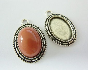 4 cabochon settings, 18x13mm, antique silver