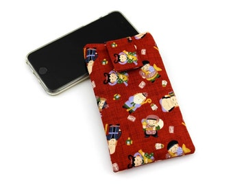iPhone 6 sleeve, Mobile Phone Cover,fabric iPod cover,handmade iphone case,The Seven Deities of Good Fortune Red