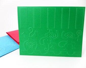 Monkey Clown Cards, Monkey Note Cards, Monkey with Fez, Three Monkeys, Clown Monkeys, Set of Monkey Cards, Acrobat Monkey, Lollipop Monkey