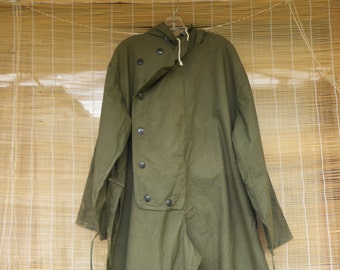 Vintage Army Green Zip Up Button Up Overall With Hood Size L