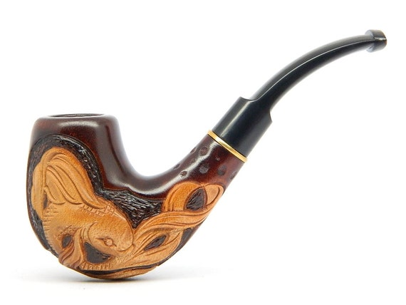 Smoking pipe golden fish hand carved pear wood for Golden fish pipe
