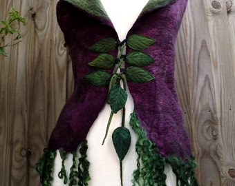 Made to order for you- Fairytale Forest Vest - pixie coat - Felt Coat