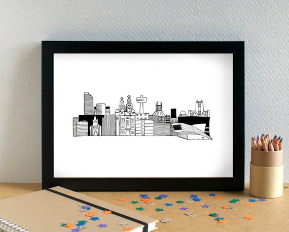 Liverpool Skyline Print - Liverpool Print - Liverpool Art - Liverpool Wedding Gift - Bon Voyage Gift - Housewarming Gift - New Home Gift