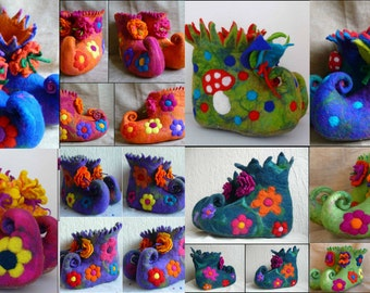 Felted slippers, felted fairy boots, pixie, curly toe, felt, handmade, eco friendly, handcrafted MADE TO ORDER
