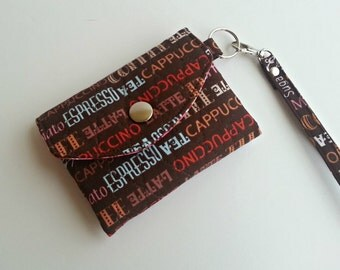 Quilted style quilted ID Wallet Key Chain in Brown/Pink Coffee print