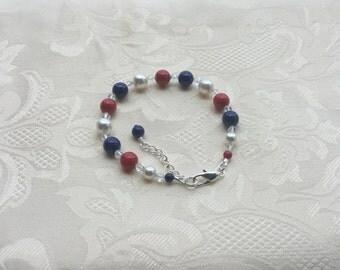 Swarovski Crystal Pearl Bracelet Red White & Blue