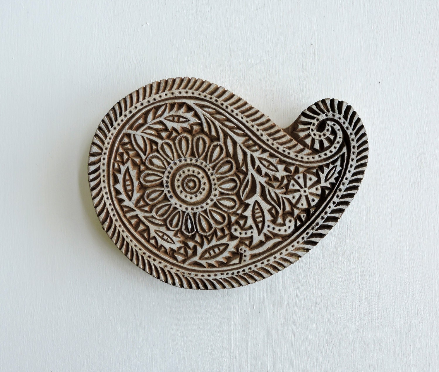 Large paisley stamp hand carved wood handmade indian
