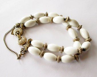 Vintage Milk Glass Bracelet 1950's Monet Oval Bead and Gold Tone
