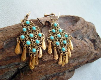 Vintage Boho Hippie Dangle Earrings Turquoise/Brass Screw-Ons