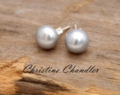 Pearl Stud Earrings 10-11mm in Silver, Peacock or White - Freshwater Pearls with Sterling Silver Posts-Pearl and Leather Jewelry Collection