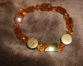 SALE-MARKED DOWN-Amber and Gold Stretch Bracelet