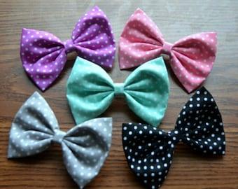 SALE - Set of 5 Polka Dot Cotton Hair Bows