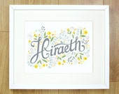 Welsh Hiraeth print. 10x8 ready to frame. Welsh Expat. Welsh Words for the home. Typography. A longing for my homeland. Daffodils