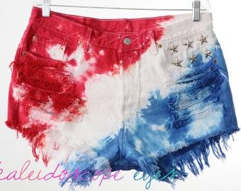 Vintage Levis 501 Studded AMERICAN FLAG Tie Dye Stars & Stripes Cut Off Shorts XXL