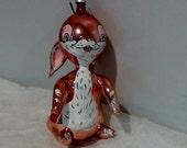 Vintage Figural Italian Blown Glass Ornament Pink Rabbit
