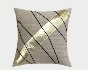 """Decorative Pillow case,  Creamy Beige Throw pillow case with Gold and Black accent, fits18""""x18"""" insert, Cushion case."""
