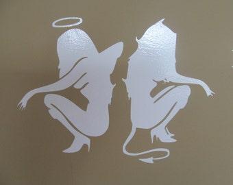 vinyl decals.  Angel and devil girl