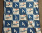 L.A. Dodger blanket with crocheted edge (square print)