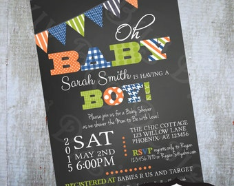 Boy Baby Shower Invitation Printable Birthday party invite by Luv Bug Design
