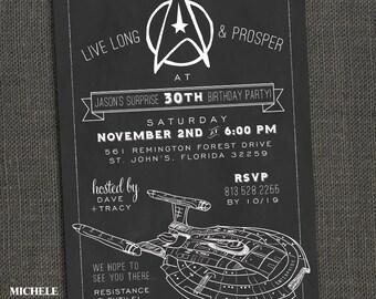 STAR TREK Birthday Party Invitation - Chalkboard - PRINTABLE