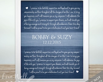 Wedding Vow Art - Custom Wedding Vow Print - Personalized Name and Date Wedding Gift - Bridal Shower Gift - Anniversary Gift - Wedding Gift