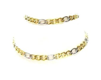 1 Men's or Ladies, Wide Link, Figaro Chain, Silver and Gold, Stainless Steel, 20.25 inches, 51.5 cm , Heavy Link, Combo plated