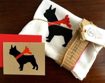 French Bulldog Tea Towel, Dish Cloth, Card, % to ANIMAL RESCUE ECO Friendly, Frenchie, Bulldogs, Kitchen Decor, Bullies, Country, Red Towels