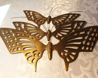 Vintage Brass Butterflies, Set of 3 Large