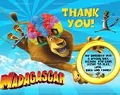 Madagascar Thank you Card, Madagascar 3 Party, Madagascar Thank you Note